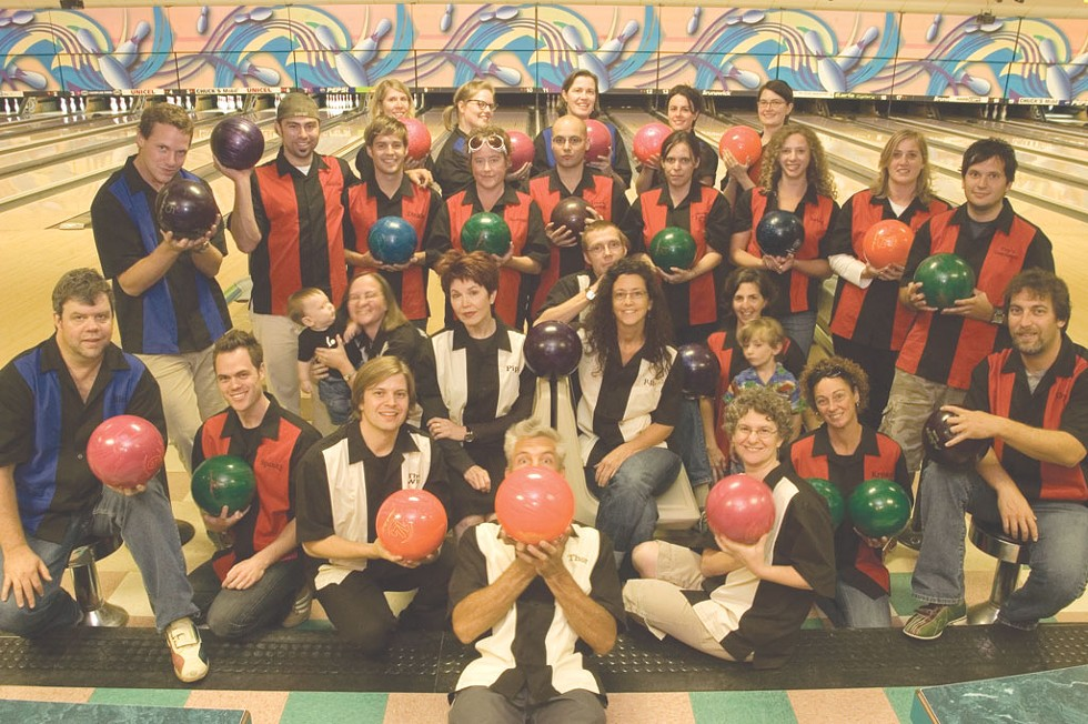 """BACK ROW, FROM LEFT: Michelle """"Mimi"""" Brown, Allison """"Gutter Girl"""" Davis, Judy """"Trixie"""" Beaulac, Jess """"Sleazy"""" Campisi, Meghan """"Evangeline Gutterball"""" Dewald. - PENULTIMATE ROW: Andy """"MAV"""" Duback, Colby """"Goldie"""" Roberts, Don """"Dickie"""" Eggert, Diane """"Reverend"""" Sullivan, Casey """"Dark Lord"""" Rea, Emily """"Soxy Lady"""" Peters, Haley """"Betty"""" Mathis, Robyn """"Sister Robyn"""" Birgisson, Steve """"Cap'n Combover"""" Hadeka, Ken """"K-Dog"""" Picard (seated). - SEATED, FROM LEFT: Rick """"Rico!"""" Woods, Andrew """"Spanky"""" Sawtell, Cathy """"Crezmo"""" Resmer (and Graham), Michael """"the Wiz"""" Bradshaw, Pamela """"Pipi"""" Polston, Jonathan Bruce, Paula """"P-Ro"""" Routly, Ruth """"Cathy"""" Horowitz, Joanna """"Rita"""" May (and Ben), Krystal Woodward. - FRONT AND CENTER: Matthew """"Thor"""" Thorsen."""