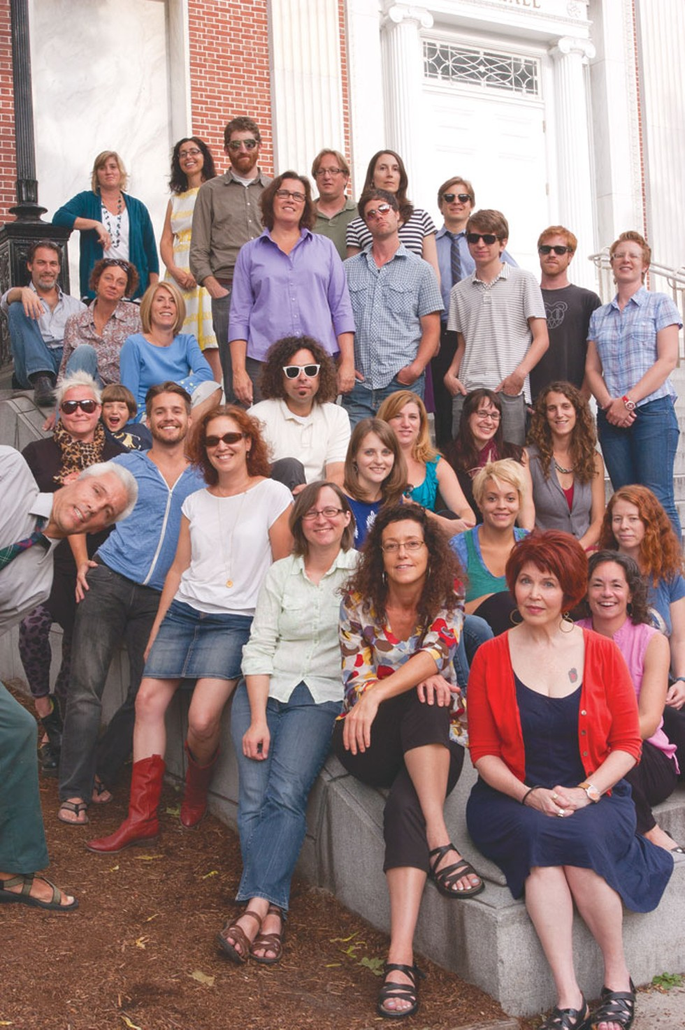FRONT: Paula Routly, Pamela Polston, Kate Laddison. - SECOND ROW: Cathy Resmer, Celia Hazard, Cheryl Brownell. - THIRD ROW: Matthew Thorsen, Corin Hirsch, Carolyn Fox. - FOURTH ROW: Diane Sullivan, Zelda Totten, Don Eggert, Colby Roberts, Brooke Bousquet, Jessica Piccirilli, Megan James. - FIFTH ROW: Krystal Woodward, Michelle Brown, Judy Beaulac, Andrew Sawtell, Tyler Machado, Dan Bolles, Lauren Ober. - SIXTH ROW: Ken Picard, Andy Bromage, Shay Totten, Margot Harrison, Michael Bradshaw. - BACK: Robyn Birgisson, Eva Sollberger. - MISSING: Ashley Cleare, Meredith Coeyman, Steve Hadeka, Marcy Kass, Alice Levitt, Kate O'Neill. - PHOTO: Matthew Thorsen.