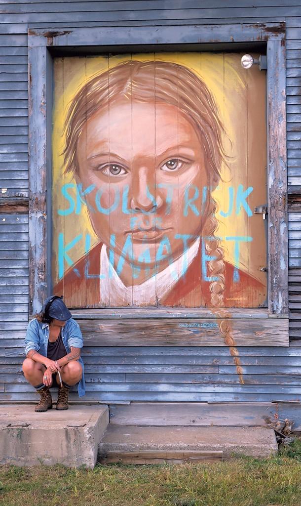 Greta Thunberg mural, with artist LMNOPI, before it was vandalized - PHOTOS COURTESY OF LOPI LAROE