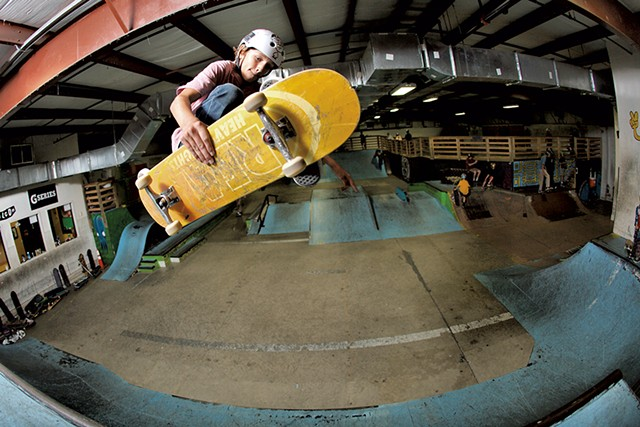 Cooper Qua doing a frontside Indy at Talent's former location