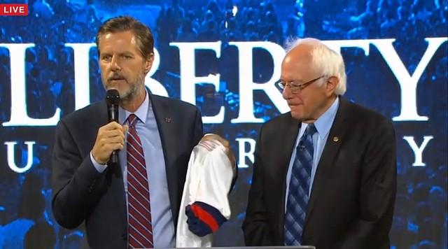 Jerry Falwell Jr., presents Sen. Bernie Sanders with a Liberty University soccer jersey - SCREENSHOT FROM WSET-TV LIVESTREAM