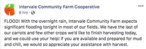 A Facebook post seeking volunteers at the Intervale Community Farm - INTERVALE COMMUNITY FARM