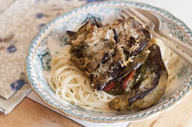 Baked veggies with pesto and Parmesan - HANNAH PALMER EGAN