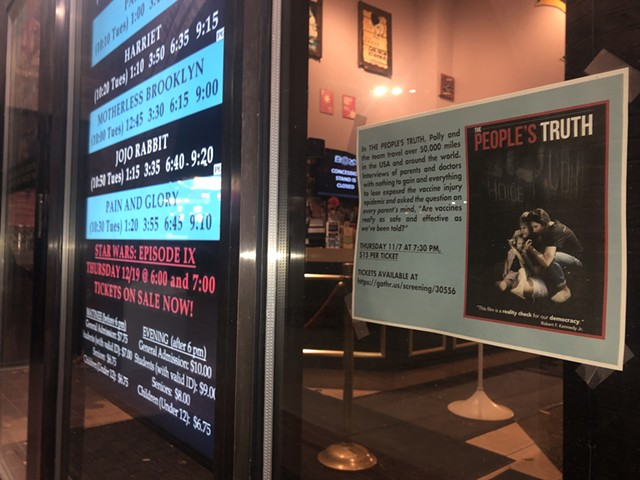 A poster for Vaxxed II: The People's Truth outside Merrill's Roxy Cinema on Thursday - COLIN FLANDERS