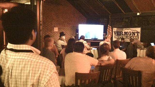 Watching the debate at Halvorson's - TERRI HALLENBECK