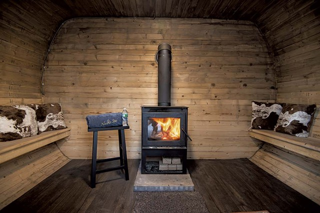 Interior of a wood-fired sauna European-inspired farm-to-table breakfast - COURTESY PHOTO