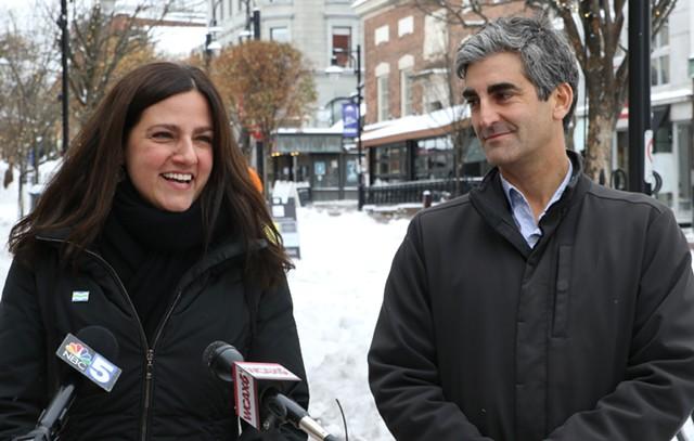 Kara Alnasrawi and Mayor Miro Weinberger - COURTNEY LAMDIN