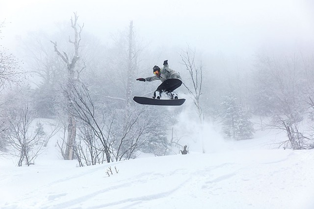 Pro snowboarder Ralph Kucharek on a PowderJet snowboard - COURTESY OF SHEM ROOSE