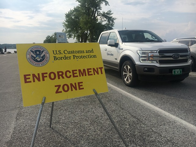 A vehicle leaving a checkpoint earlier this year - MATTHEW ROY