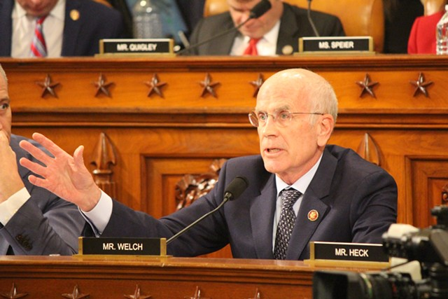 Rep. Peter Welch speaking during the House Intelligence Committee's impeachment inquiry on Wednesday - PAUL HEINTZ