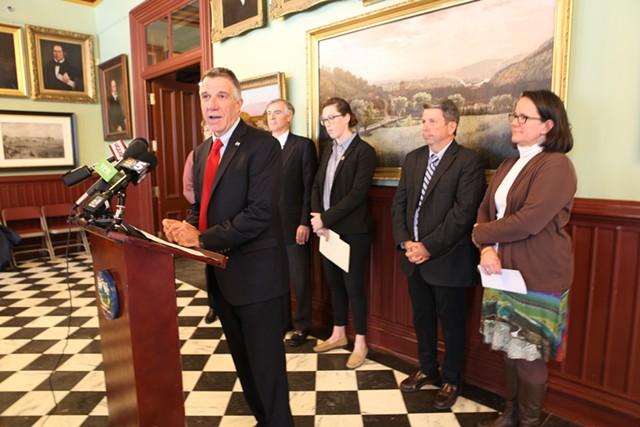 Gov. Phil Scott announces $1.2 million in grants for phosphorus removal innovations. - KEVIN MCCALLUM