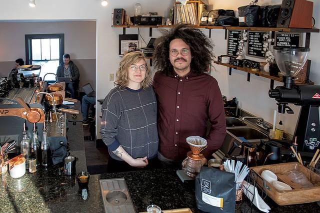 Matthew and Alessandra Delia-Lôbo in Royal Oak Coffee - CALEB KENNA