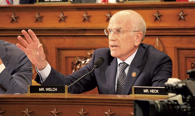 Rep. Peter Welch at the House impeachment hearings - PAUL HEINTZ