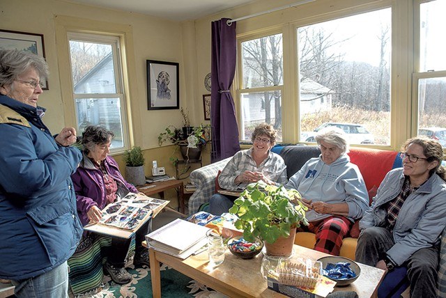 From left: Susan Smith, Lani Ravin, Vicky Tamas, Glo Daley and Anya Schwartz inside the farmhouse at HOWL - KAREN PIKE