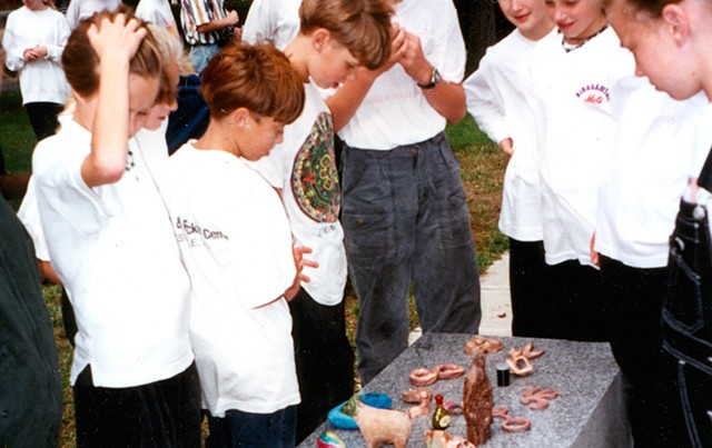 """Children look at their artworks to be buried under """"Zig Zag"""" in 1994 - COURTESY OF KATE POND"""