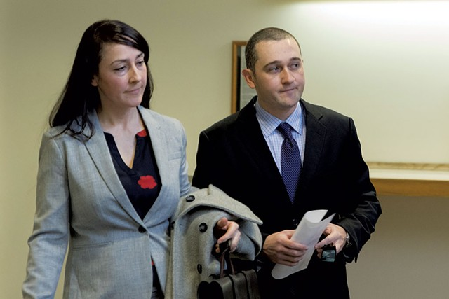 Jason Lawton, right, with his attorney, Rebecca Otey - COLIN FLANDERS