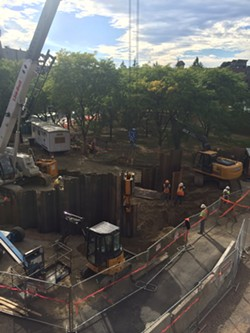 Steel piles being hammered into the ground on St. Paul Street. - ALICIA FREESE
