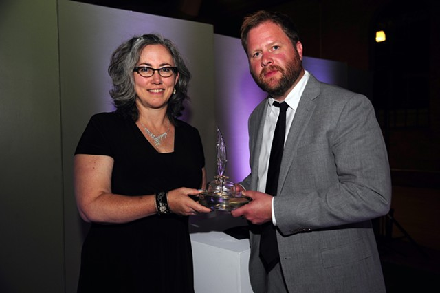 VCFA president Thomas Greene presents the Vermont Book Award to Kerrin McCadden - COURTESY OF VCFA