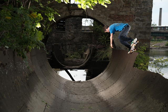Chris Colbourn doing a backside nosepick in Winooski - COURTESY OF ATIBA JEFFERSON