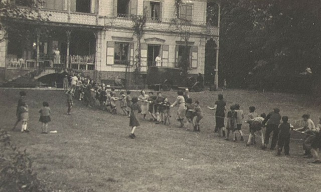 Children play tug of war at the orphanage in France where she stayed for six months in 1939 - COURTESY OF THE KEIBEL FAMILY