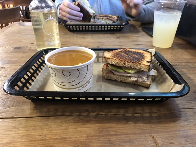 Maple, apple and butternut bisque and the Vermonter at Garden of Eatin' Café - JORDAN BARRY