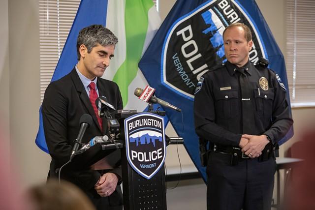 Acting Chief Jon Murad, right, looks on as Mayor Miro Weinberger addresses the media Monday - LUKE AWTRY