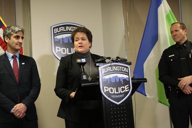 Interim Chief Jennifer Morrison (center) - COURTNEY LAMDIN
