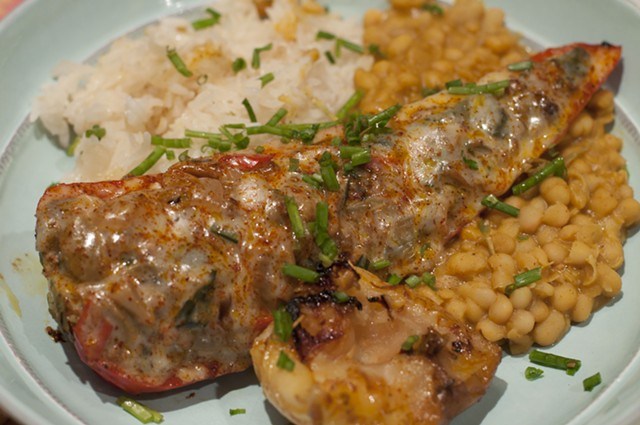 Chiles rellenos with roasted apple, rice and beans - HANNAH PALMER EGAN