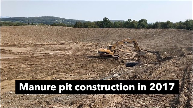 Michael Colby took video in 2017 of the work on a 10-million-gallon manure pit in Enosburg Falls - SCREENSHOT