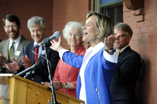 Sue Minter kicks off her campaign for governor. - JEB WALLACE-BRODEUR