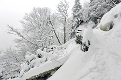 Mad River Glen free skiing team member Alonso Darias cresting a powdery feature - COURTESY OF JEB WALLACE-BRODEUR