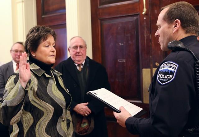 Jennifer Morrison being sworn in as interim Burlington police chief - COURTNEY LAMDIN