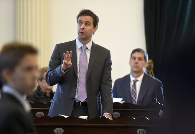 Senate President Pro Tempore Tim Ashe (D/P-Chittenden) speaking Tuesday - JEB WALLACE-BRODEUR