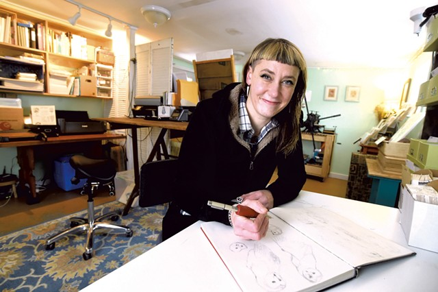 Artist Hilary Glass in her Montpelier studio - JEB WALLACE -BRODEUR