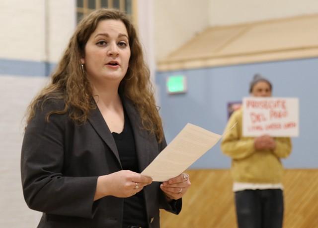 Jillian Scannell at Sunday's caucus - COURTNEY LAMDIN