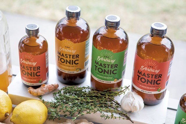 Fresh ingredients and finished Yerbary Master Tonic products - LUKE AWTRY