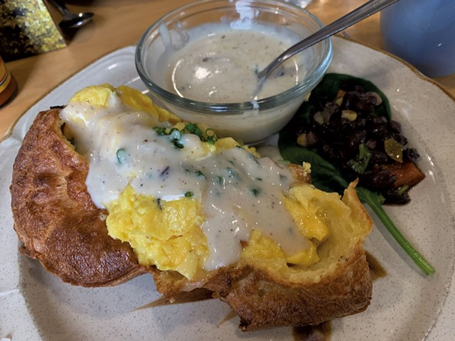 Popover stuffed with egg and cheese with a side of bacon gravy at the Swingin' Pinwheel - MELISSA PASANEN