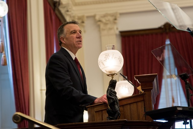 Gov. Phil Scott delivering his 2020 budget address on Tuesday at the Vermont Statehouse - COLIN FLANDERS