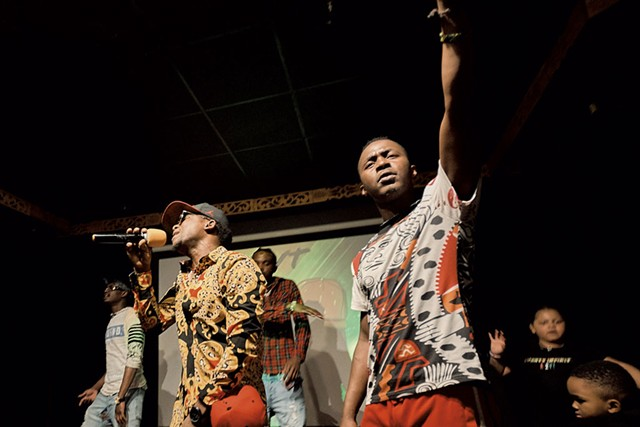 Said Bulle (left) and George Mnyonge at the A2VT album release party - BEAR CIERI