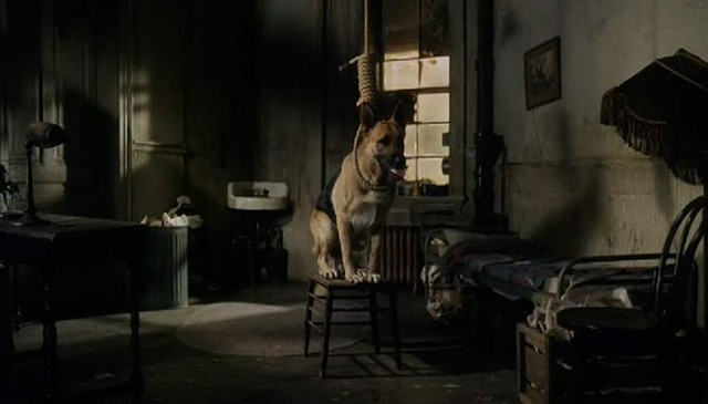Look, a suicidal dog! This ghoulish image is about as funny as Won Ton Ton gets. - PARAMOUNT PICTURES