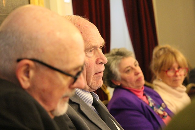 Sen. Dick Sears, center, listens to a Council of State Governments presentation Wednesday at the Statehouse - PAUL HEINTZ