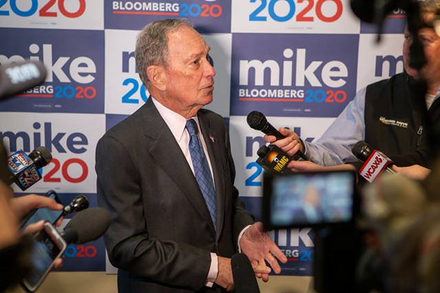 Michael Bloomberg takes questions from reporters on Monday in Burlington - LUKE AWTRY