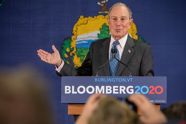 Michael Bloomberg speaking Monday at the ECHO Leahy Center for Lake Champlain - LUKE AWTRY