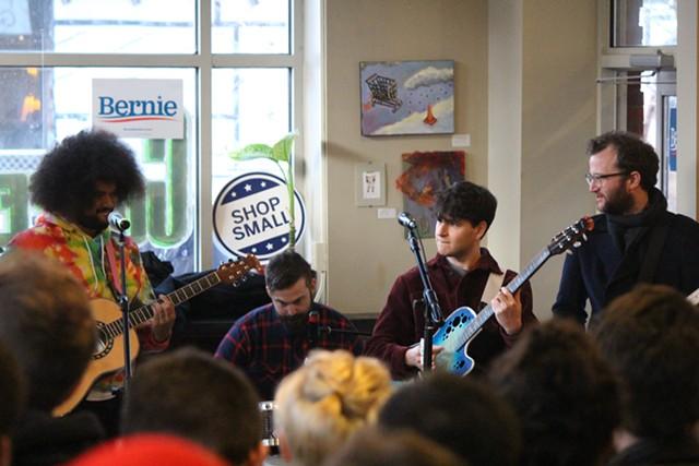 Vampire Weekend performs at a coffee shop in Iowa City on Saturday. - PAUL HEINTZ