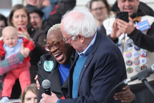 Sen. Bernie Sanders embracing national campaign cochair Nina Turner in Cedar Rapids, Iowa - PAUL HEINTZ