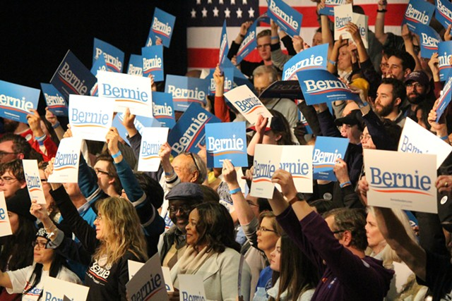 Supporters of Sen. Bernie Sanders at his watch party Monday night in Des Moines - PAUL HEINTZ