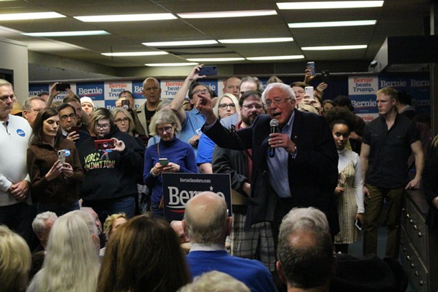 Sen. Bernie Sanders (I-Vt.) addressing supporters at his field office in Newton, Iowa, on Sunday - PAUL HEINTZ