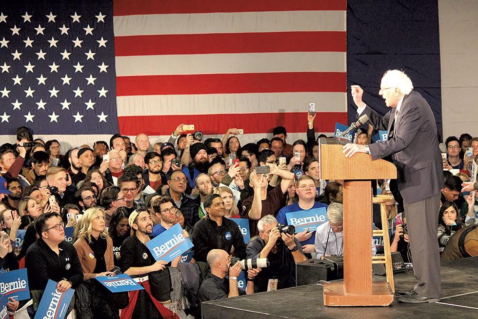 Sen. Bernie Sanders at his victory party in Des Moines - PAUL HEINTZ