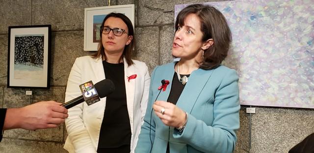 Majority Leader Jill Krowinski and House Speaker Mitzi Johnson after the vote - KEVIN MCCALLUM