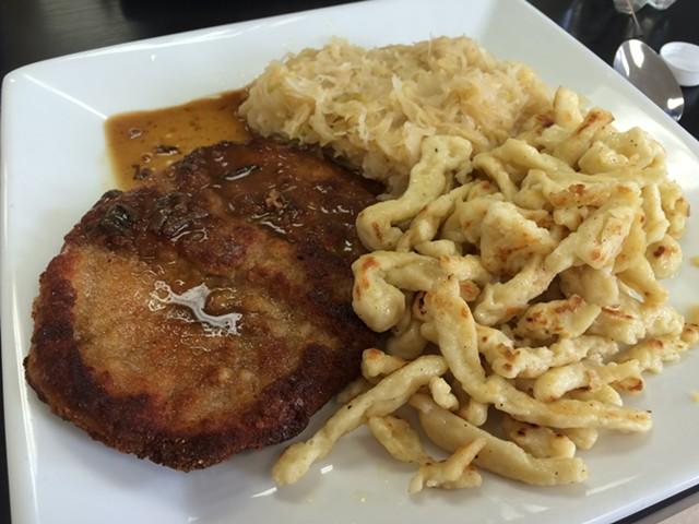 Schnitzel with sauerkraut and spaetzle ($12.50) - ALICE LEVITT